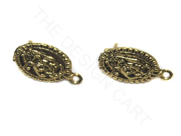 Golden Flat Circular German Silver Earring Components | The Design Cart