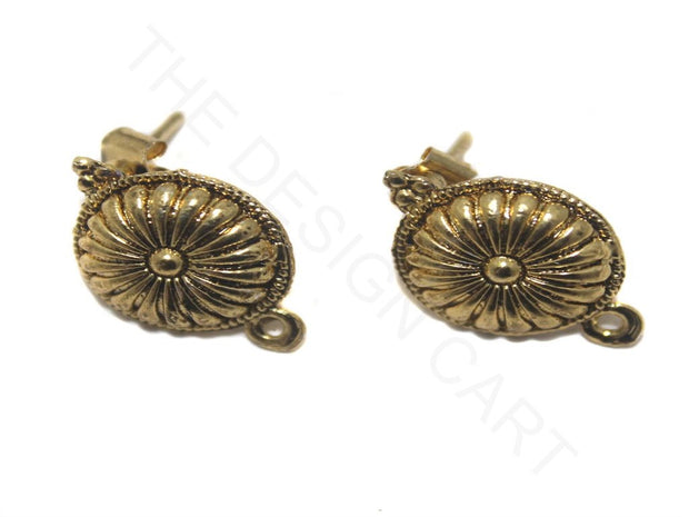 Golden Flower Circular German Silver Earring Components (15 mm) | The Design Cart