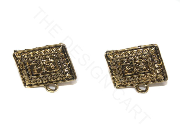 Golden Flat Square German Silver Earring Components | The Design Cart