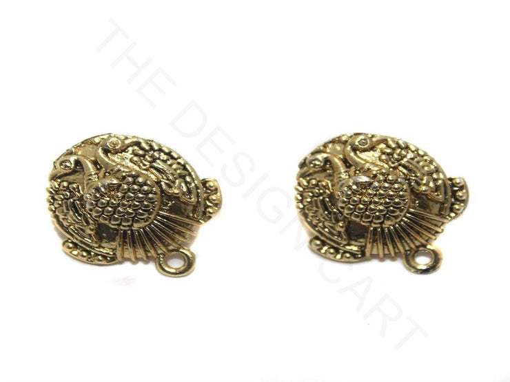 Golden Round Peacock German Silver Earring Components | The Design Cart