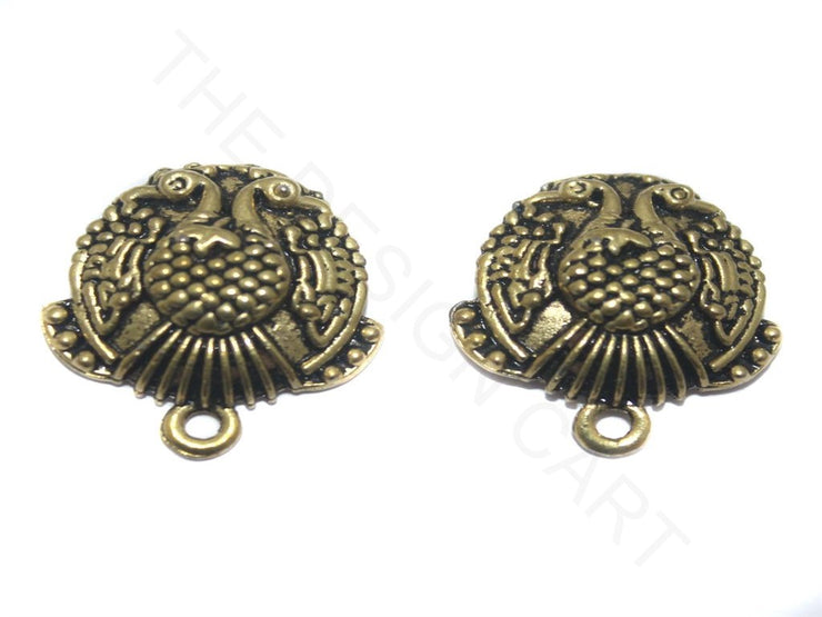 Antique Golden Peacock German Silver Earring Components (18 mm) | The Design Cart
