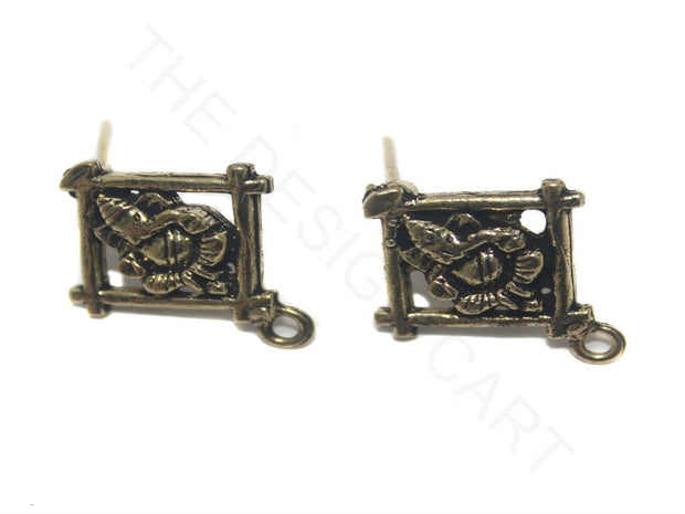 Antique Golden Ganesha German Silver Earring Components | The Design Cart