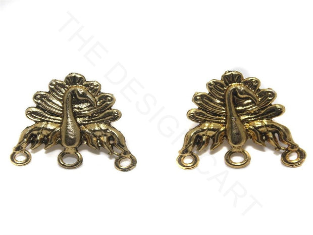 Golden Peacock German Silver Earring Components (22 mm) | The Design Cart