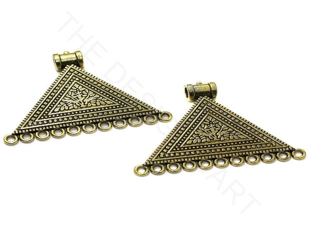 Golden Triangular German Silver Earring Components | The Design Cart