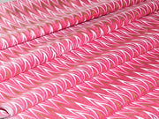 White and Gold Broken Chevron On Pink Polyester Chanderi Fabric | The Design Cart (1529863897122)