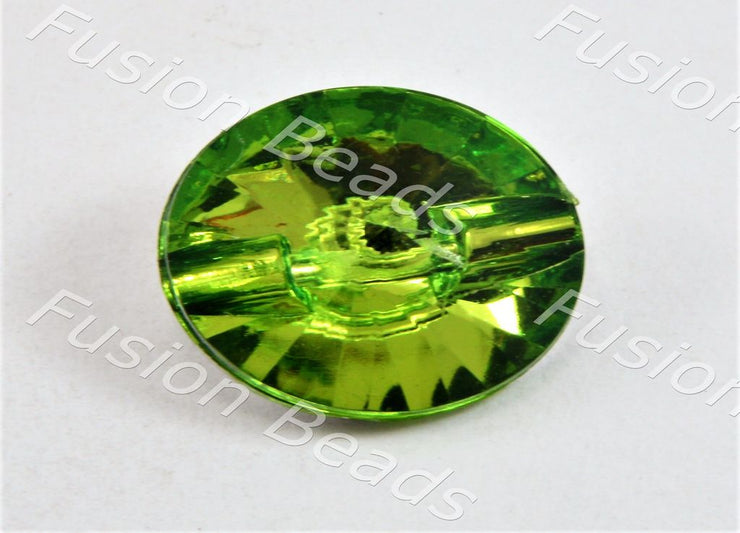 Lime Green Sun Design Crystal Button