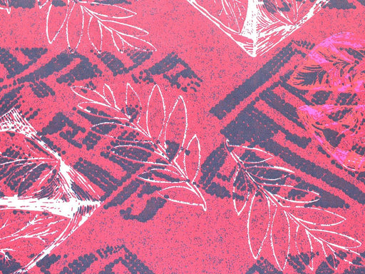 Maroon Pink Leafs Design Polyester Crepe Fabric