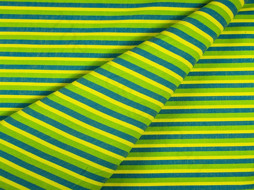 Green Yellow Stripes Cotton Fabric