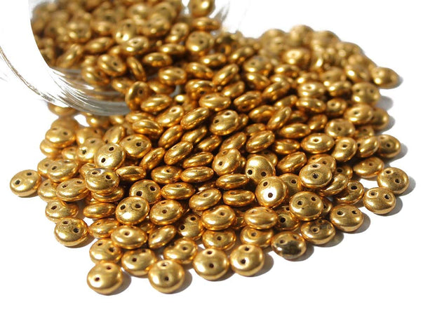 Golden Lentil 2 Hole Czech Glass Beads | The Design Cart (1695435096098)