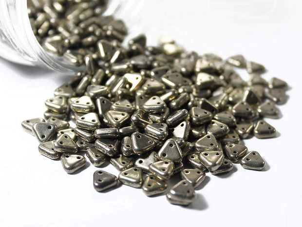 Bronze 2 Hole Triangular Czech Glass Beads | The Design Cart (1695438962722)