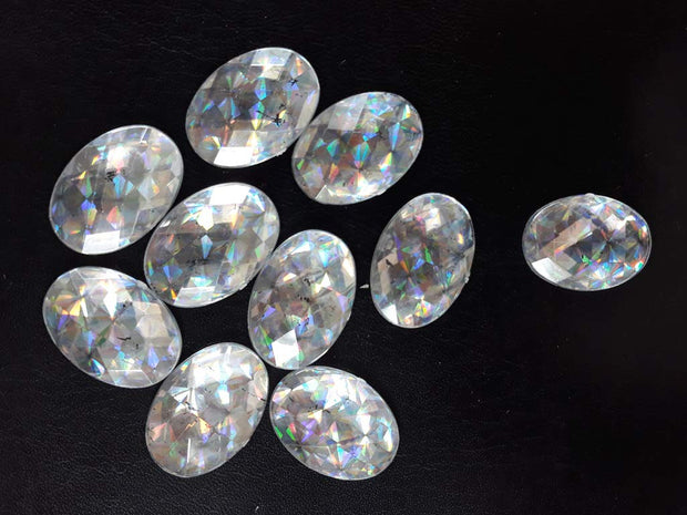 Silver Oval Plastic Stones
