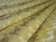 Yellow Peacock Polyester Chanderi Fabric (1567420710946)