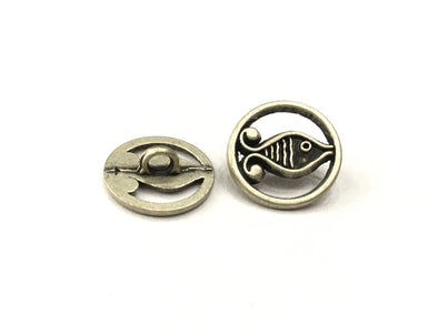 Fish Design Round Metal Buttons
