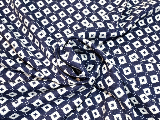Navy Blue White Geomatric Design Rayon Fabric