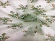 White Green Floral Net Fabric | The Design Cart
