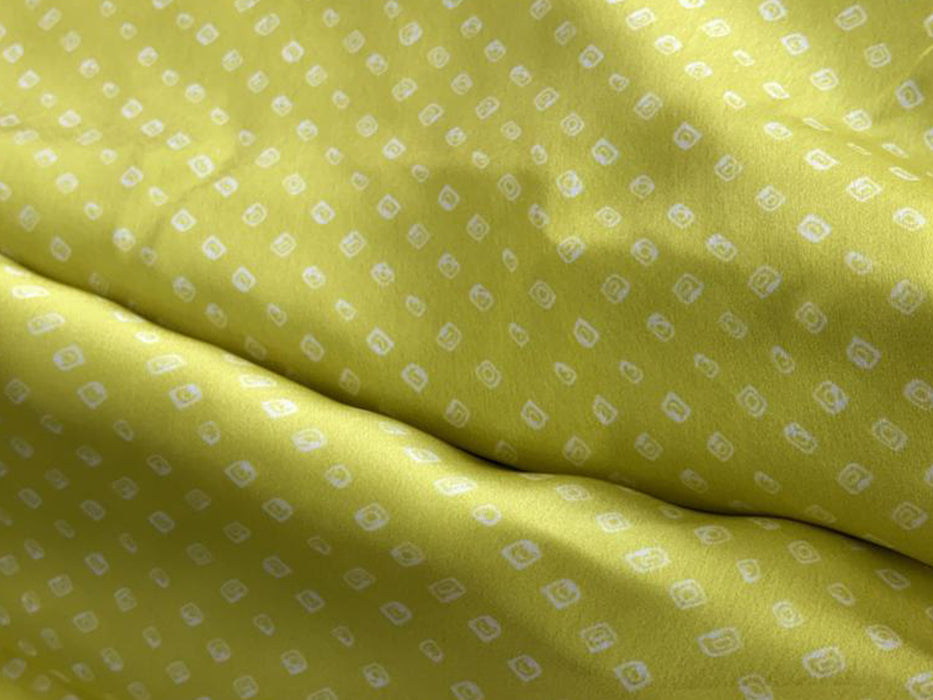 Yellow Geometric Digital Printed Satin Georgette Fabric