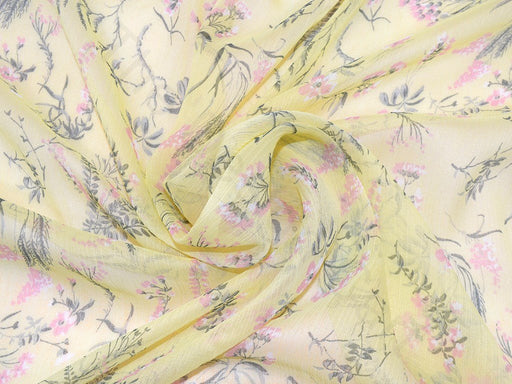Yellow Pink Flower Design Polyester Lurex Chiffon Fabric