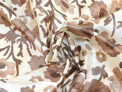 Brown Flower Design Tussar Silk Fabric