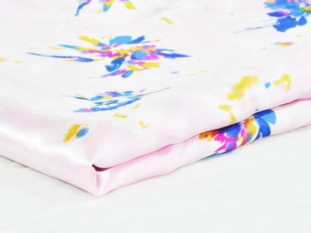 Baby Pink Flowers Digital Printed Satin Fabric