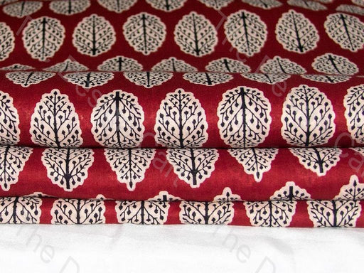 Maroon and Black Moghul and Butta Design Cotton Fabric