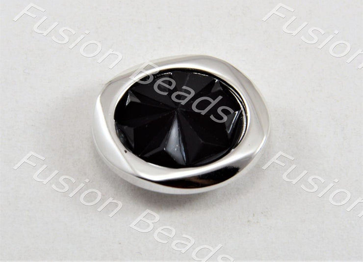 Black Silver Sunflower Crystal Button (370480939042)
