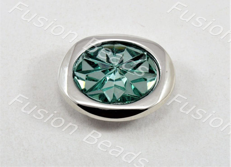 Teal Sunflower Crystal Button (370480971810)
