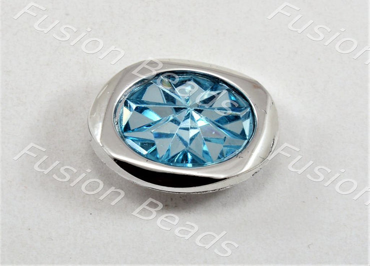 Aqua Blue Sunflower Crystal Button (370481135650)