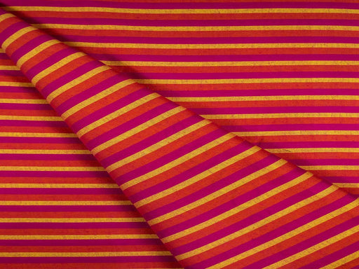 Orange Magenta Stripes Cotton Fabric