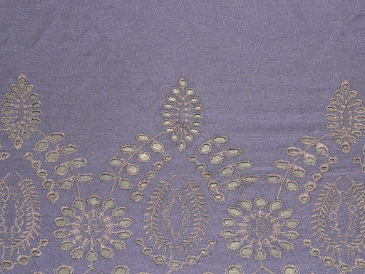 Navy Blue Modal Fabric with Embroidered Border
