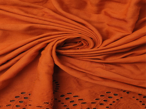 Rust Orange Rayon Fabric With Embroidered Border