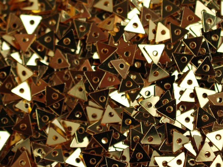 Golden Metallic 1 Hole Triangular Plastic Sequins (1809421434914)