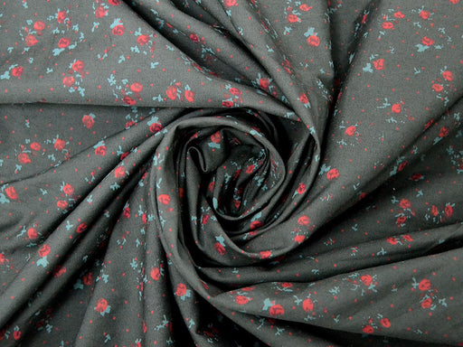 Gray Red Floral Cotton Poplin Fabric
