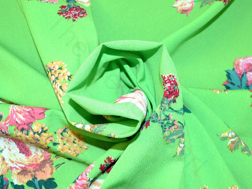 Green Flower Design Polyester Crepe Fabric