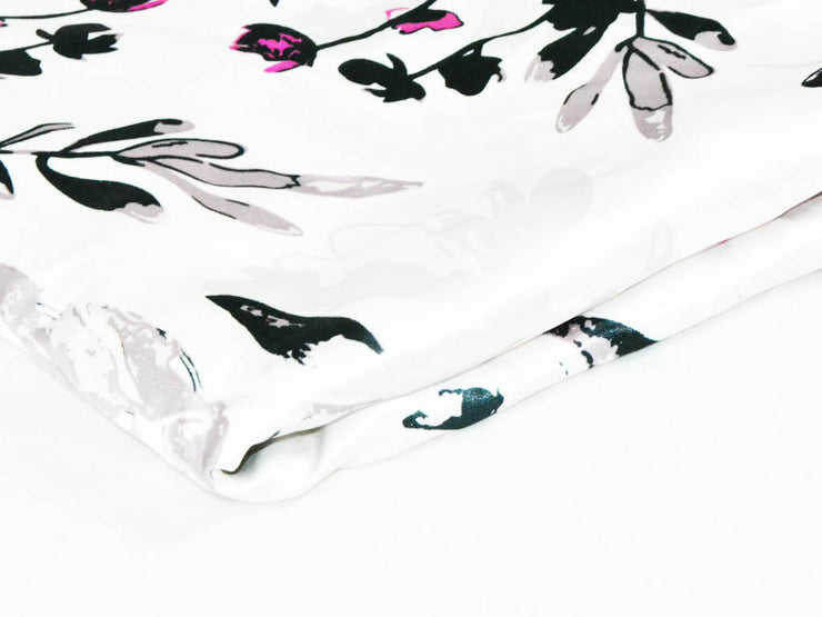 Off White Black Flowers Digital Printed Satin Fabric