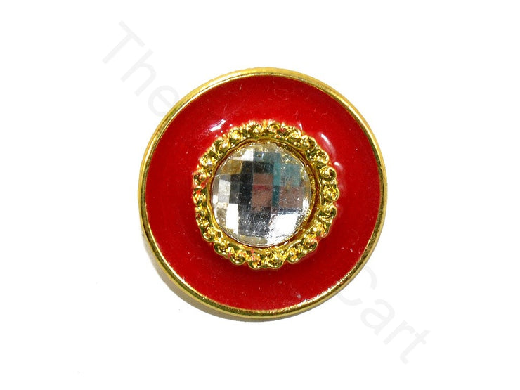 Red Plain Kundan Buttons