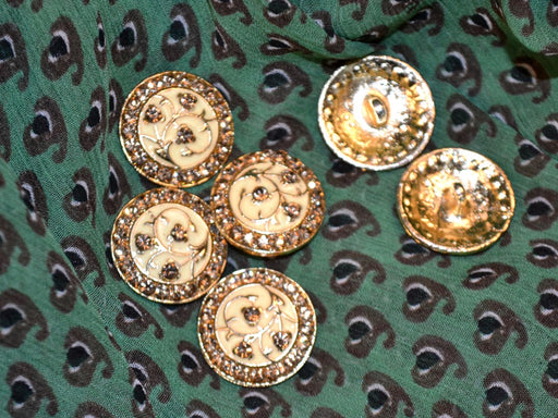 Green Paisleys Chiffon Fabric with Ethnic Buttons