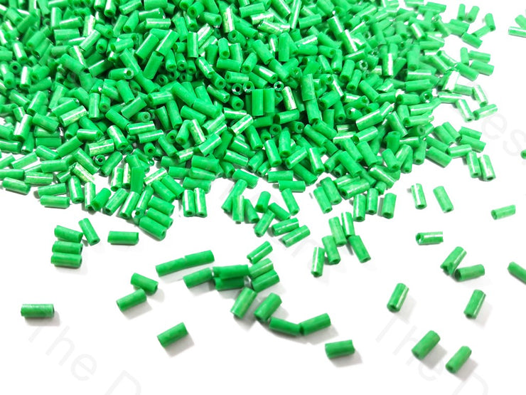 Green Opaque Dyed Bugle / Pipe Beads | The Design Cart (1759391154210)