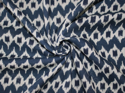 Blue Ikat Design Cotton Rayon Fabric