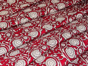 Maroon and White Moghul Print Cotton Fabric | The Design Cart
