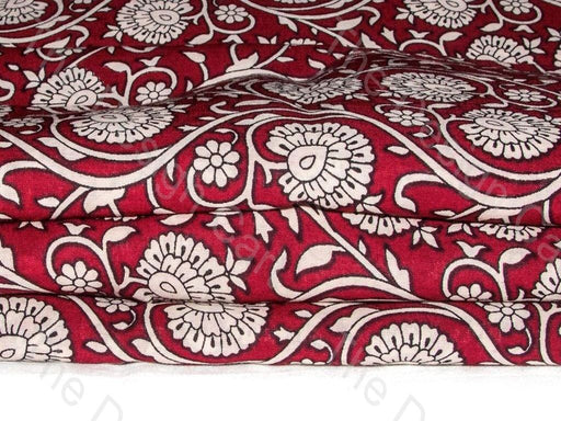 Maroon and White Moghul Print Cotton Fabric