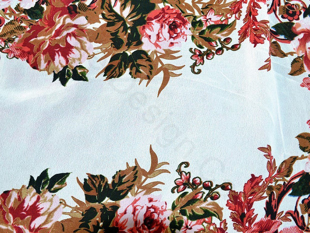 White Floral Design Polyester Georgette Fabric