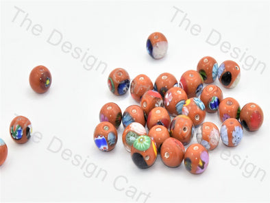 Orange Small Spherical Italian Chip Beads