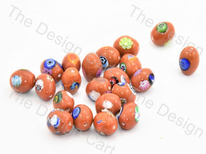 Orange Small Oval Italian Chip Beads