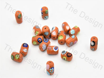 Orange Drum Italian Chip Beads