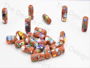 Orange Tube Italian Chip Beads