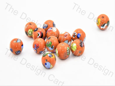 Orange Large Spherical Italian Chip Beads