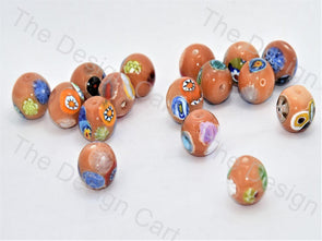 Peach Large Spherical Italian Chip Beads