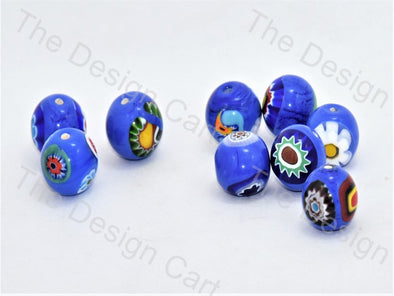 Blue Large Spherical Italian Chip Beads