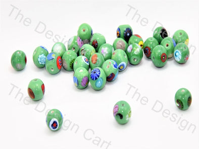 Green Small Spherical Italian Chip Beads