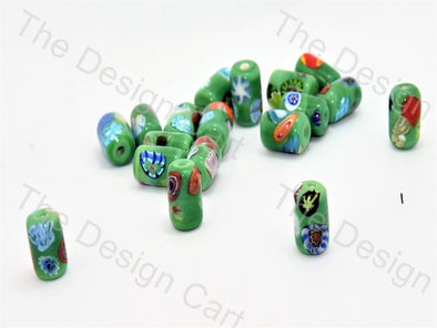 Green Drum Italian Chip Beads